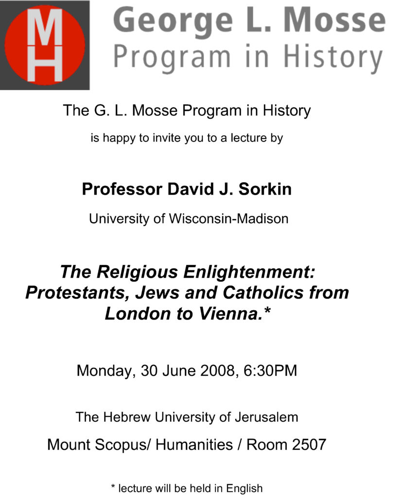 2008.06.30 - David Sorkin - Religious Enlightenment