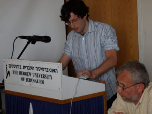 2007 Fellow Udi Greenberg gives a paper as Professor Steven Aschheim looks on