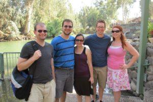 2012 - Exchange Fellows at the Jordan River: David Harrisville; Dan, Veronica Hummel; Skye, Janna Doney