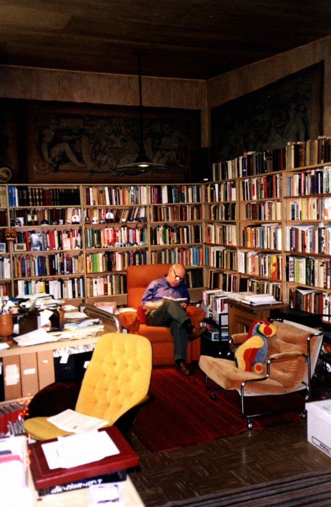 George L. Mosse in his library at 36 Glenway