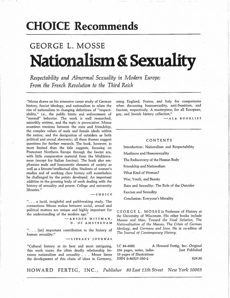 Nationalism and Sexuality advertisement