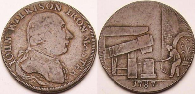 Coin minted by ironmaster John Wilkinson in 1787. Image on the right depicts a man working in a furnace. Image on the left depicts Wilkinson himself (Image courtesy of the collector Brillo Lainson, www.lainson.eu)