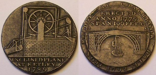 Coin from Coalbrookdale in Shropshire, minted in 1789. Image on the right shows the Iron Bridge, the first large bridge made out of cast iron. It was world known and considered a national sensation and symbol of the industrial revolution. Image on the left depicts a man working on an inclined plane, used to maneuver boats and goods between different water levels (Image courtesy of the collector Brillo Lainson, www.lainson.eu)